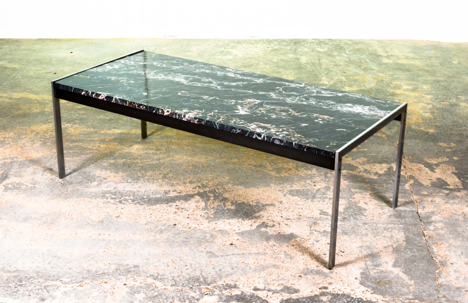 Mid Century Modern Dutch Design Black Marble And Brushed Steel