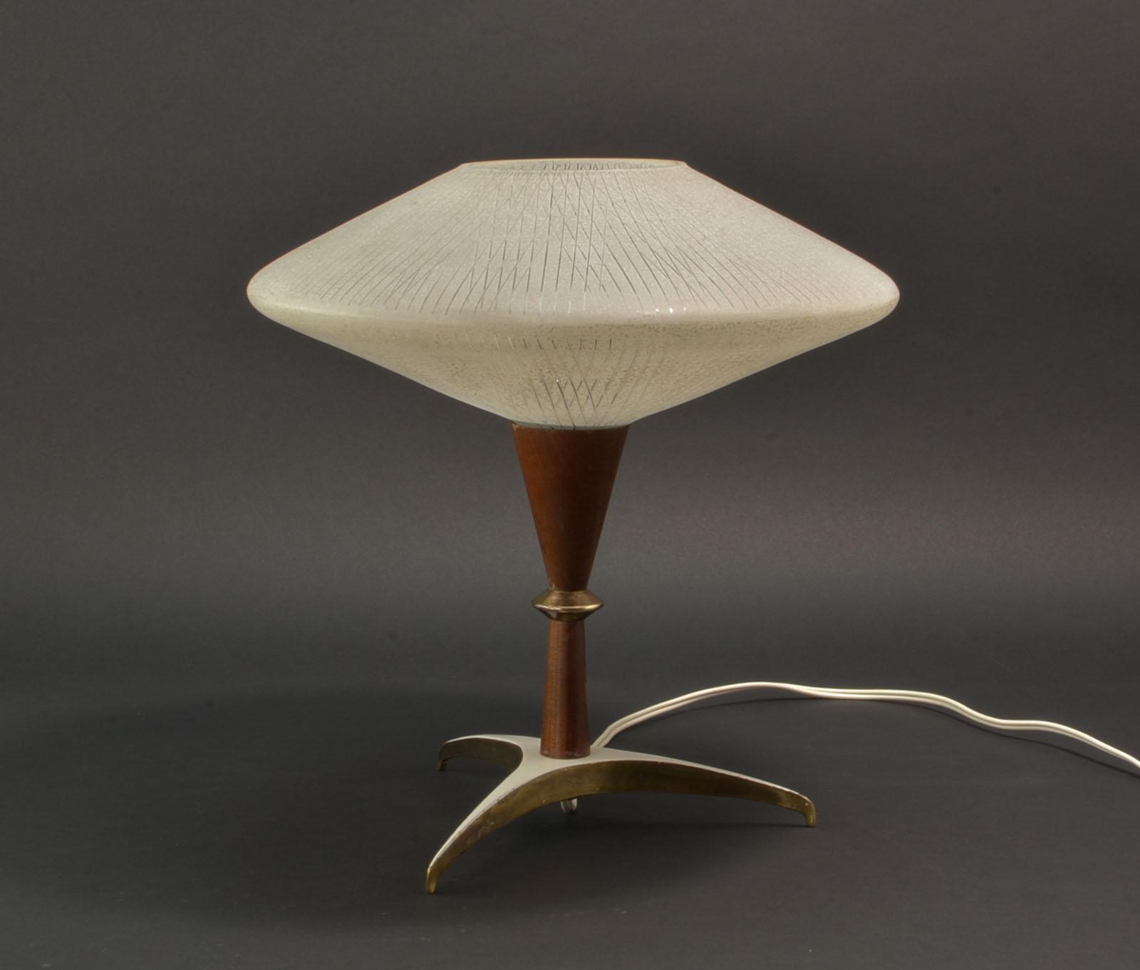 Mid Century Design Decorative Atomic Tripod Teak Brass Glass Table
