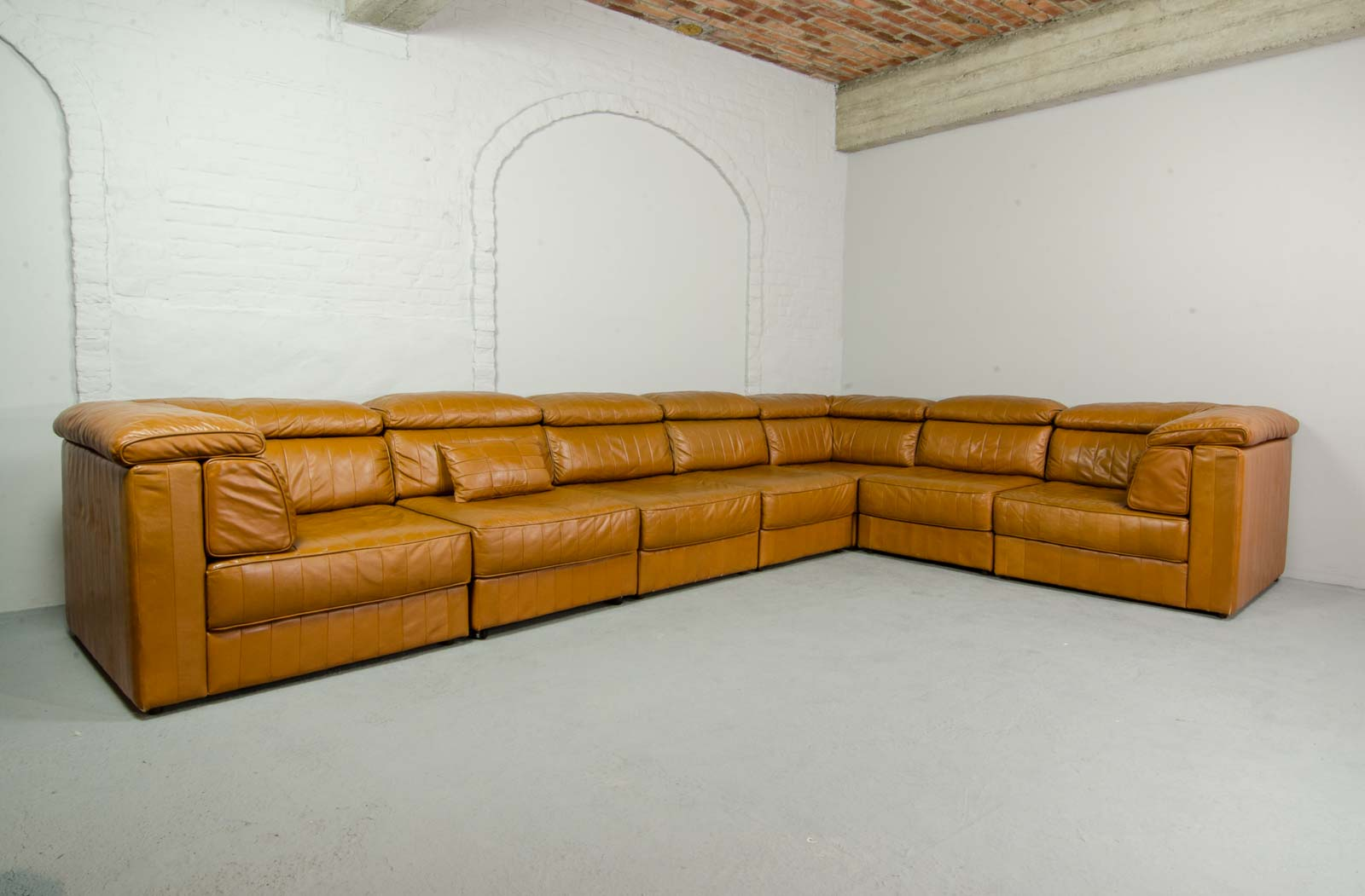 Mid Century Design Modular Patchwork Cognac Leather Sofa For Laauser Germany 1970s