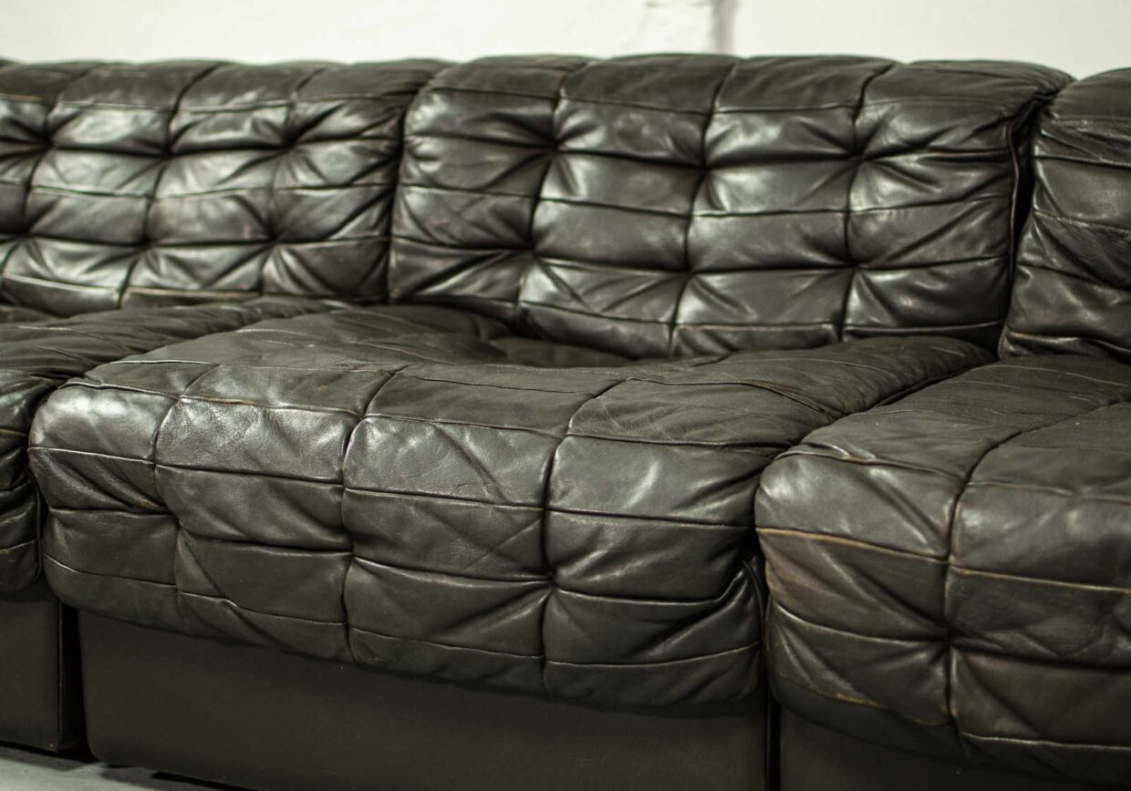 MID-CENTURY DESIGN PATCHED LEATHER MODULAR SOFA DS11 FOR DE SEDE, 1970S