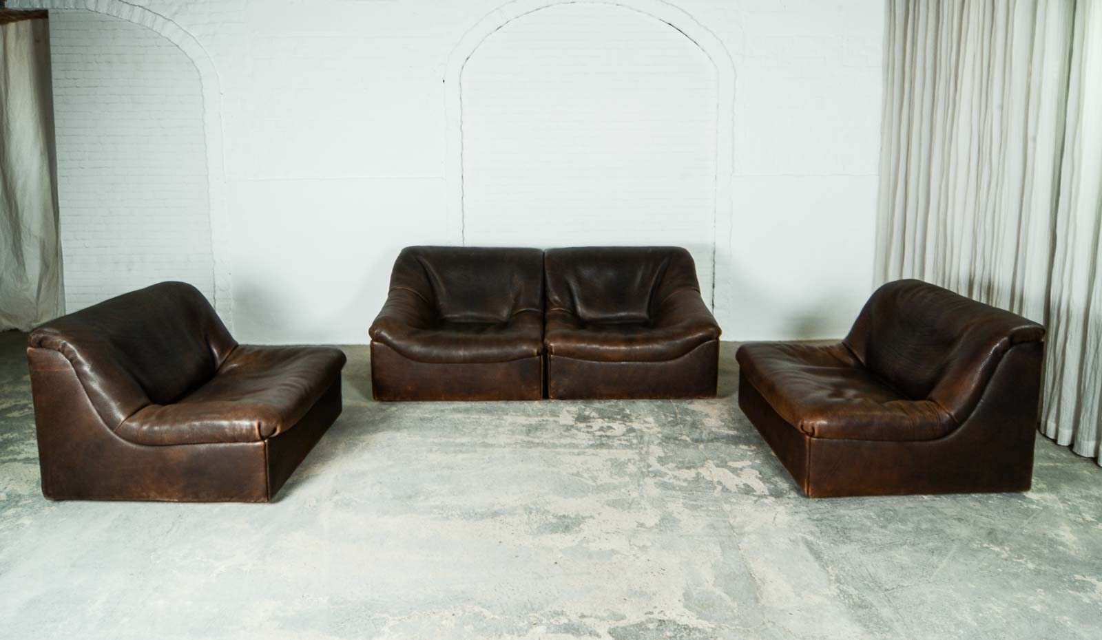 MID-CENTURY DESIGN PATCHED LEATHER MODULAR SOFA DS11 FOR DE ...