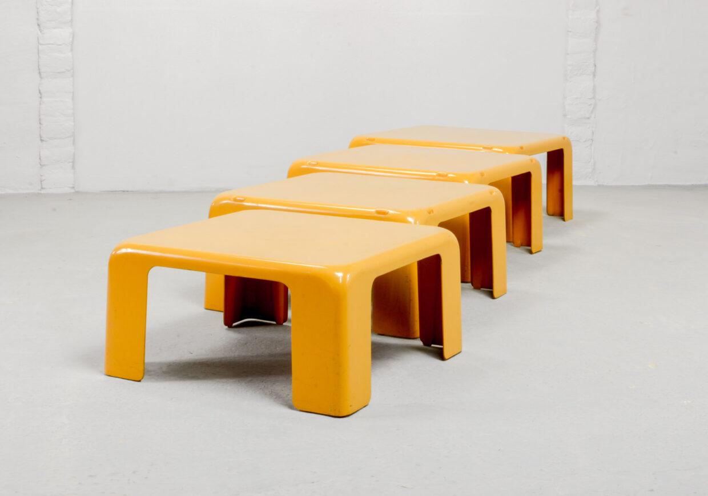 MID-CENTURY DESIGN YELLOW SET OF QUATTRO GATTI SIDE TABLE BY MARIO BELLINI FOR C&B ITALIA, 1960S