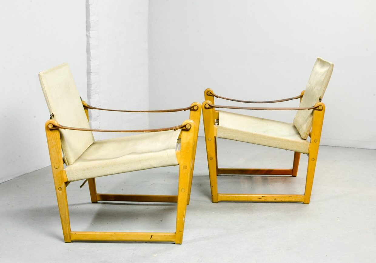 PAIR OF MID-CENTURY DESIGN SAFARI CHAIRS DESIGNED BY BENGT RUDA FOR IKEA, 1960S