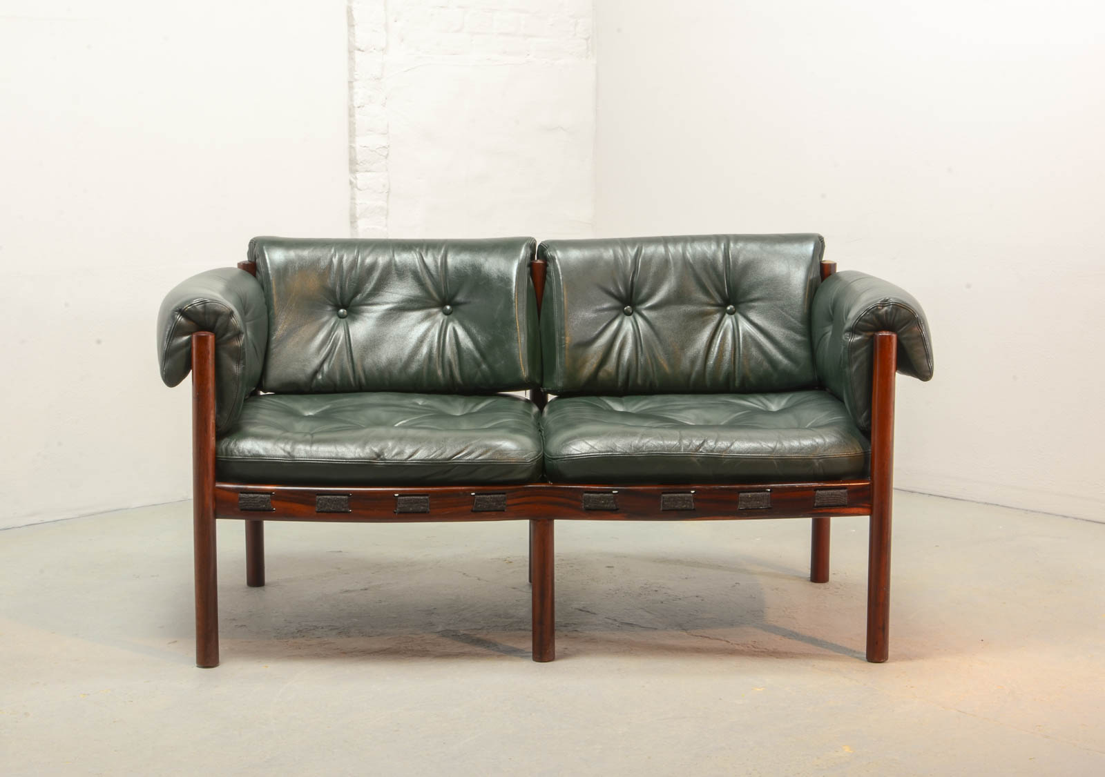 Mid Century Design Two Seat Rosewood And Green Leather Sofa