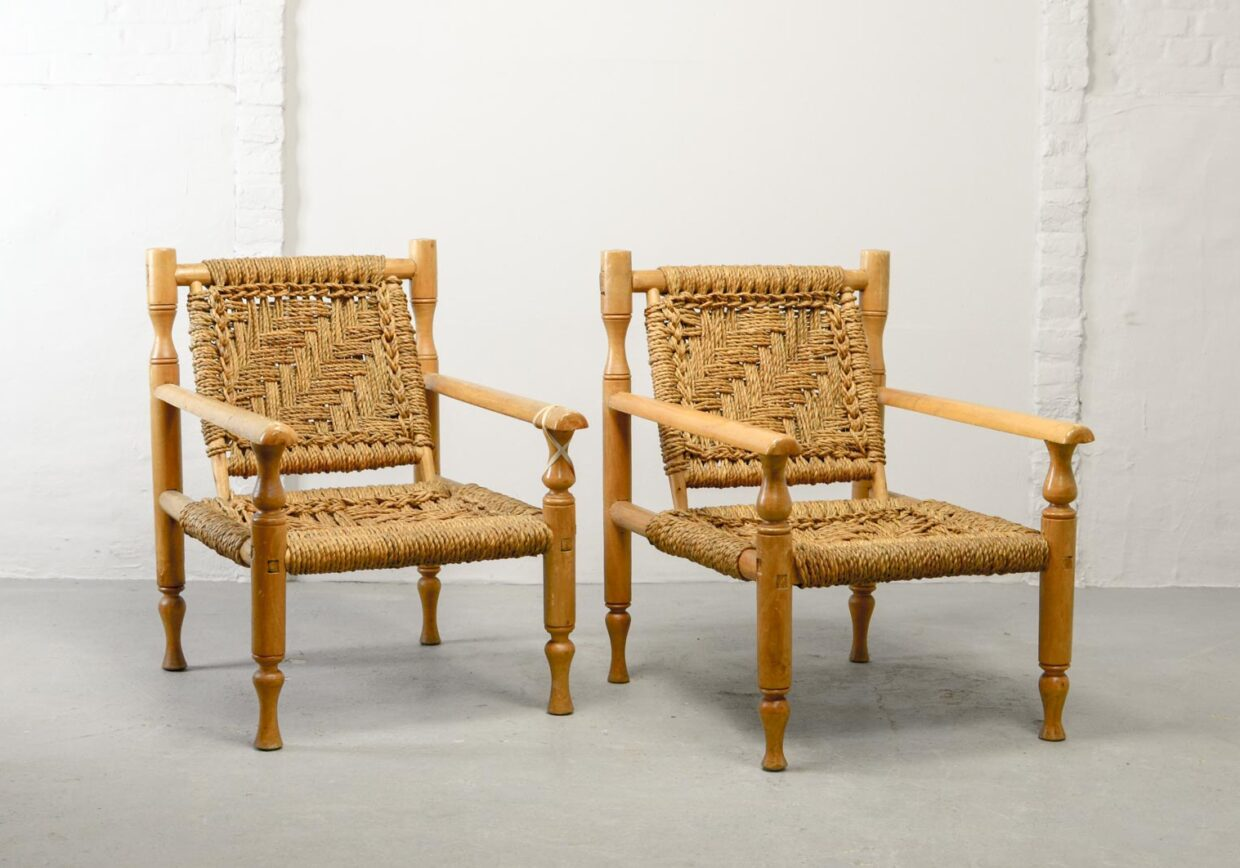 CHARLOTTE PERRIAND STYLE SOLID BEECH WOOD WITH SISAL ROPE EASY CHAIRS, SET OF TWO, 1960S. REF.: CH146