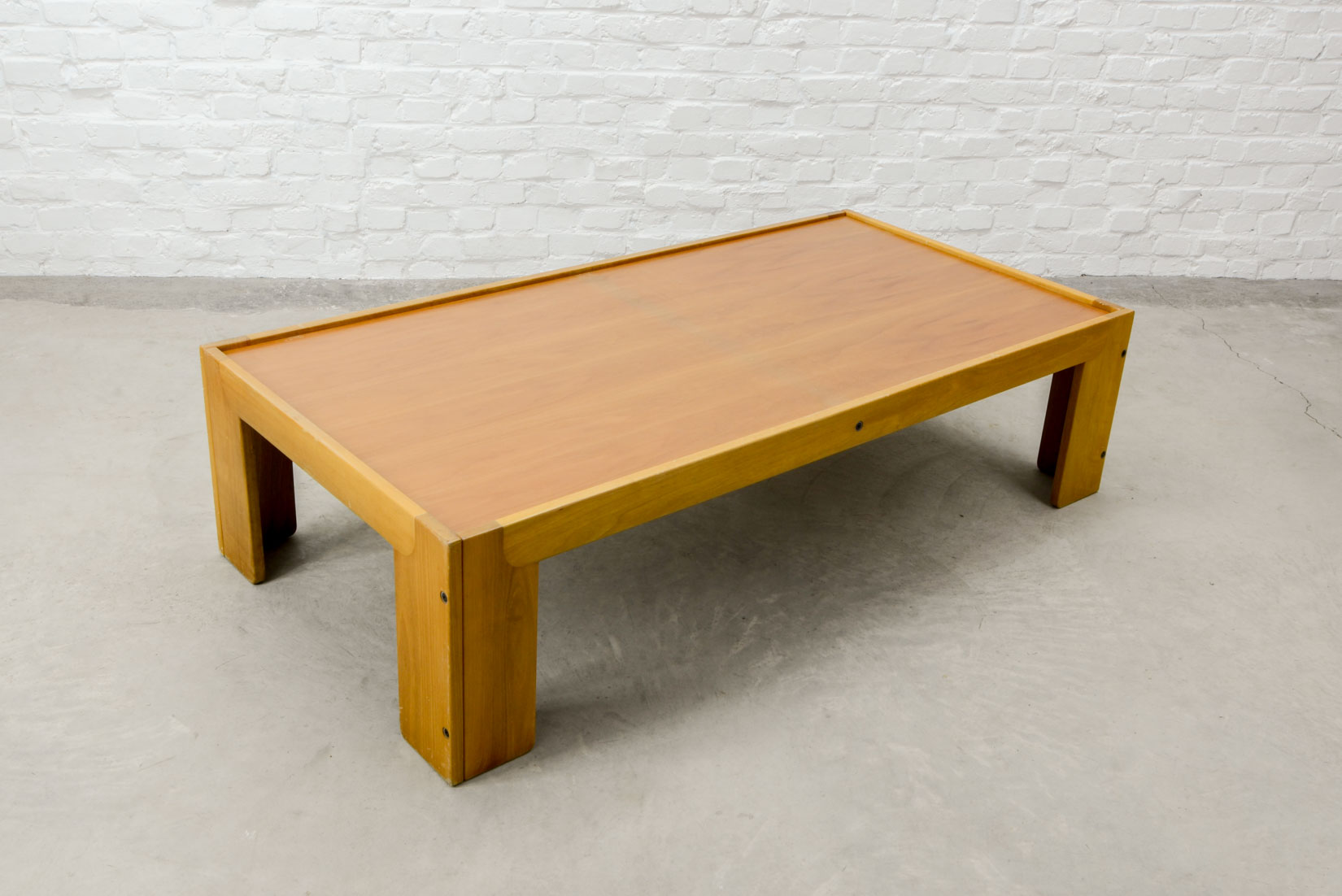 Mid century italian design solid wood coffee table by for Cassina italy