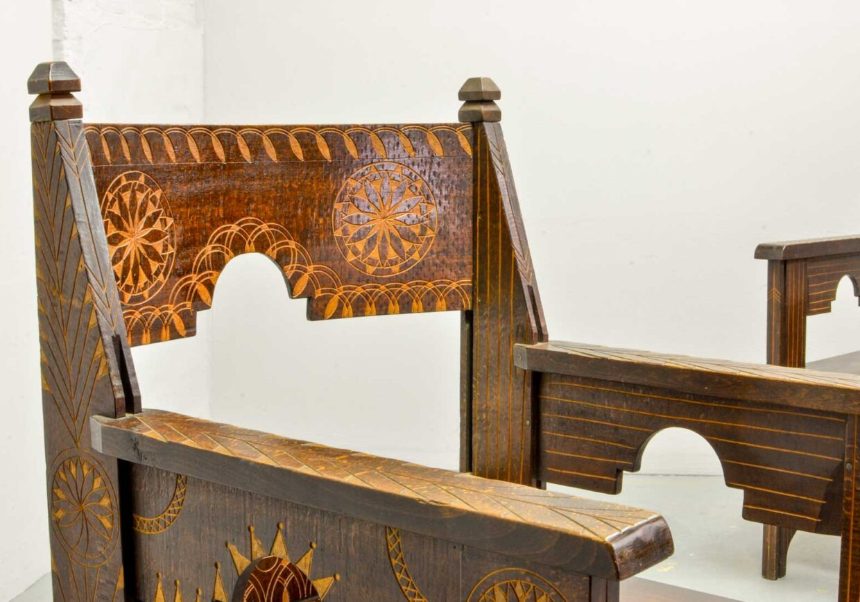 MIDDLE EAST WOODEN CARVED MOORISH DECORATED SIDE CHAIRS, 1950S. SET OF TWO. REF.: CH166