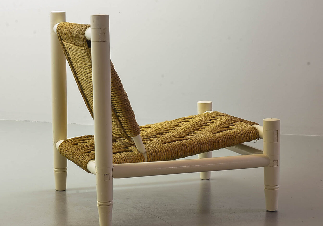CHARLOTTE PERRIAND STYLE LOW SEAT SISAL ROPE WHITE OAK LOUNGE CHAIR WITH FOOTSTOOL, 1960S.