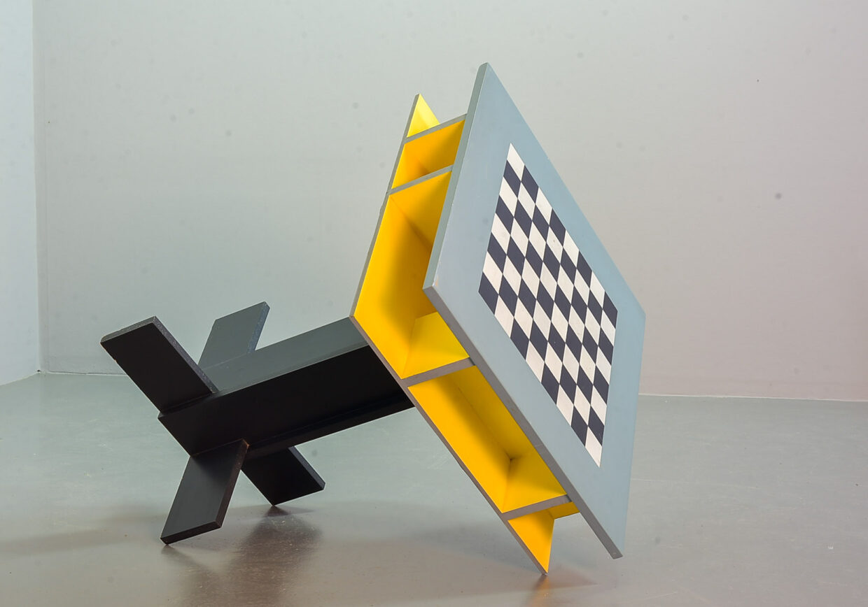 PETER SPAANS DUTCH DESIGN CHESS BOARD GAME TABLE, 1990S.