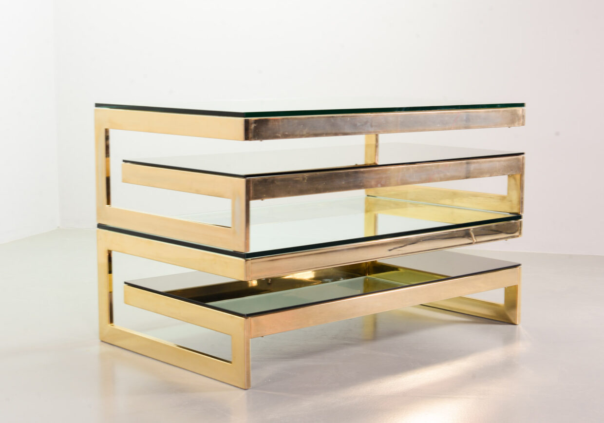 PAIR OF BELGO CHROM G-TABLES 23-CARAT GOLDPLATED WITH GLASS TOPS. BELGIUM, 1970S. REF. CT011