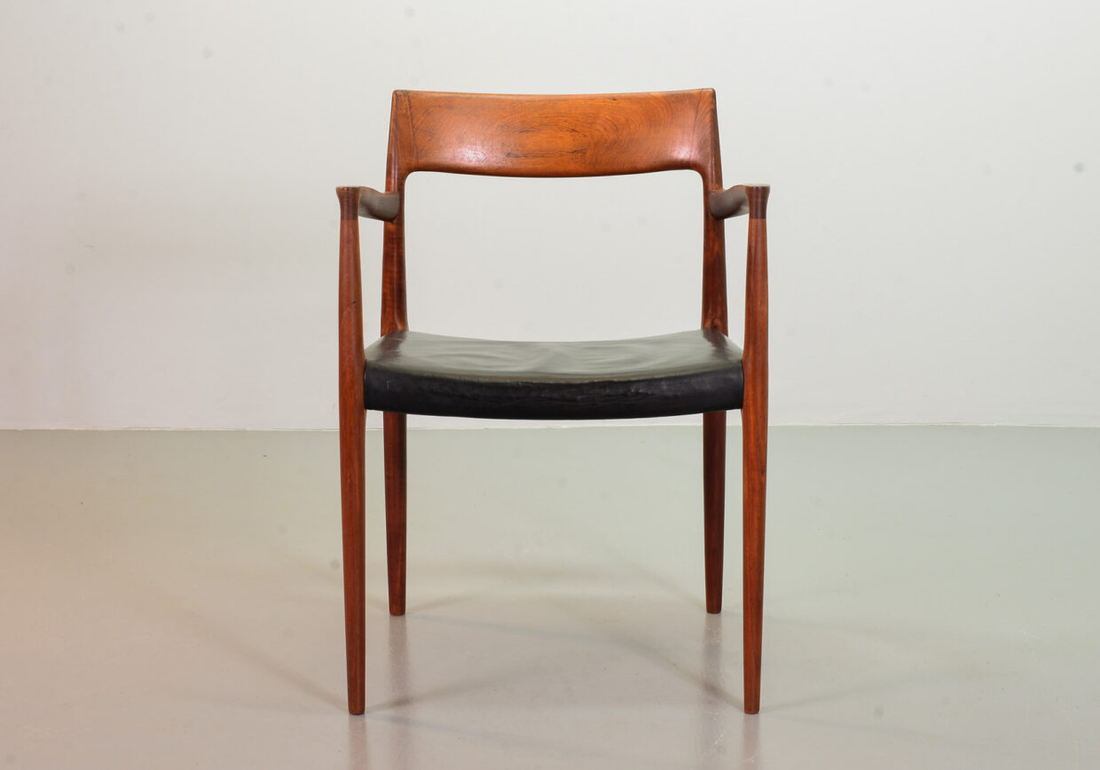 NIELS OTTO MOLLER, MODEL 57 SOLID TEAK DESK CHAIR WITH BLACK LEATHER. JL MOLLERS MOBELS FABRIK. DENMARK, 1960s.